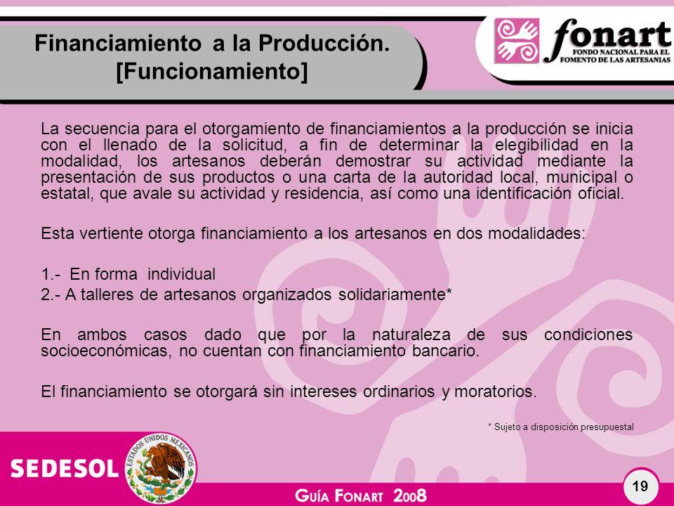 Financiamiento a la Producción. [Funcionamiento]